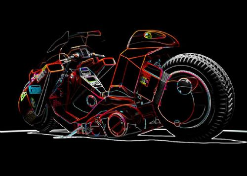 AKIRA - BIKE GLOW ART - landscape canvas print - self adhesive poster - photo print
